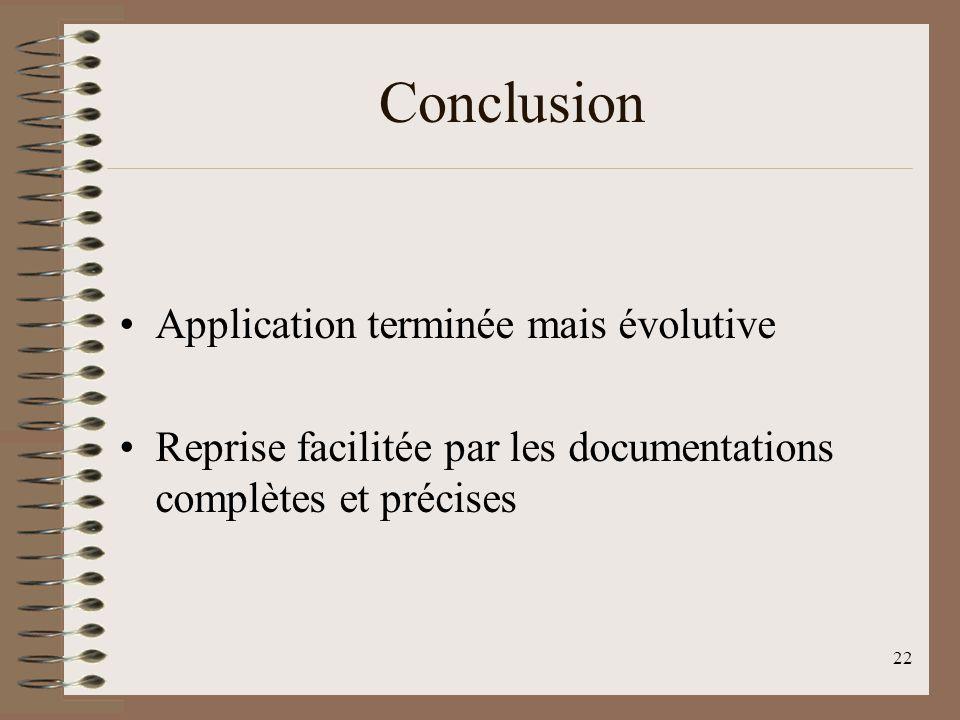 22 Conclusion Application terminée mais évolutive Reprise facilitée par les documentations complètes et précises