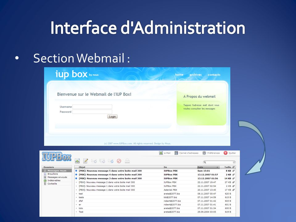 Section Webmail :