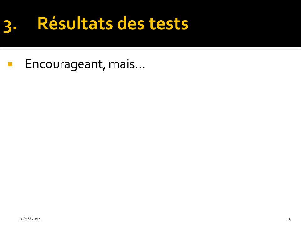 Encourageant, mais… 10/06/201415 3.Résultats des tests