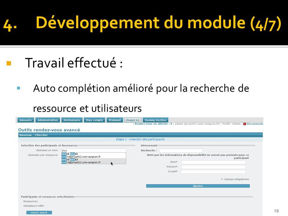 Travail effectué : Auto complétion amélioré pour la recherche de ressource et utilisateurs 10/06/201419 4.Développement du module ( 4/7 )