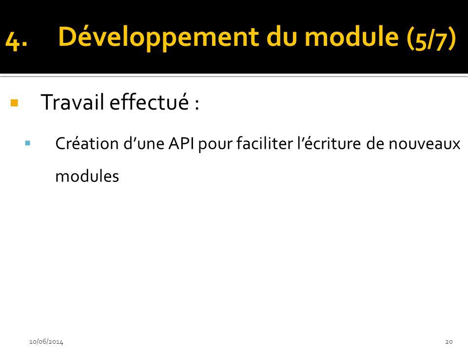 Travail effectué : Création dune API pour faciliter lécriture de nouveaux modules 10/06/201420 4.Développement du module ( 5/7 )