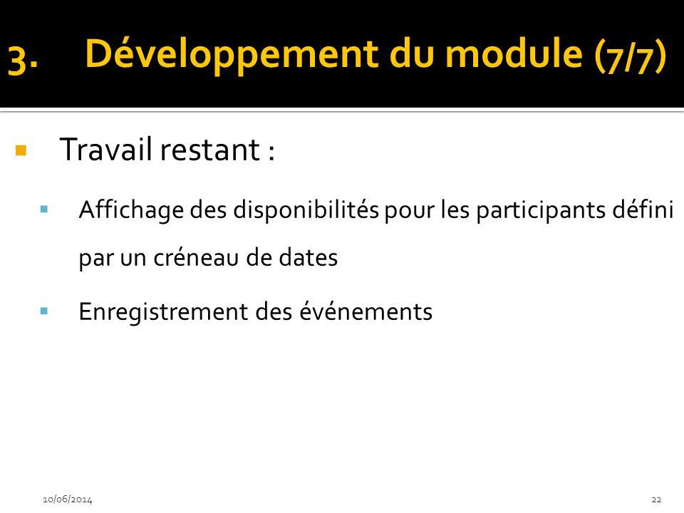 Travail restant : Affichage des disponibilités pour les participants défini par un créneau de dates Enregistrement des événements 10/06/201422 3.Dével