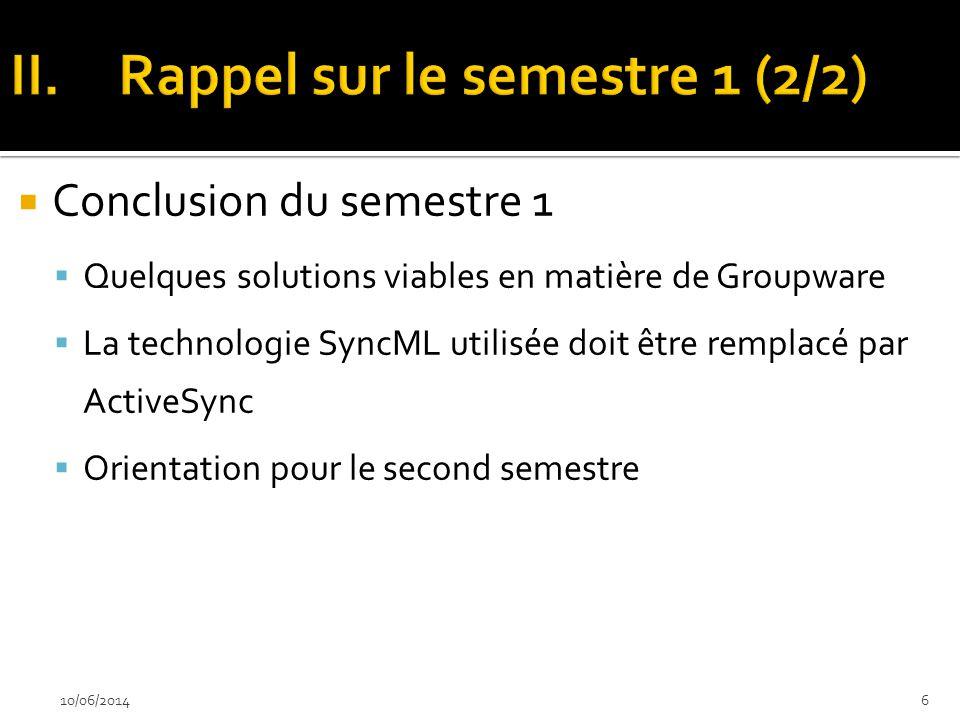 Conclusion du semestre 1 Quelques solutions viables en matière de Groupware La technologie SyncML utilisée doit être remplacé par ActiveSync Orientati