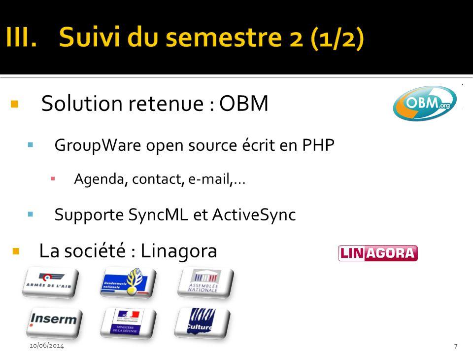 Solution retenue : OBM GroupWare open source écrit en PHP Agenda, contact, e-mail,… Supporte SyncML et ActiveSync La société : Linagora 10/06/20147