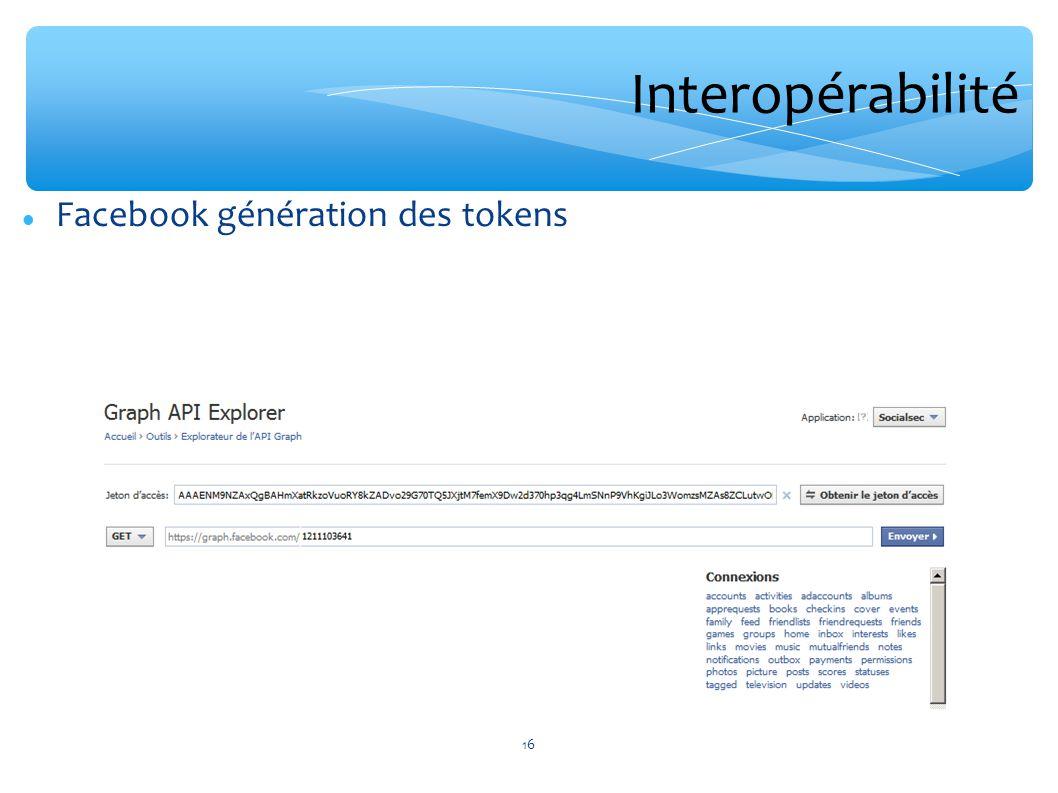 Interopérabilité Facebook génération des tokens 16