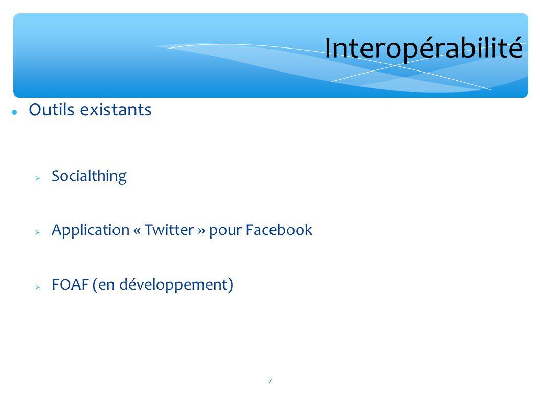 Interopérabilité Outils existants Socialthing Application « Twitter » pour Facebook FOAF (en développement) 7
