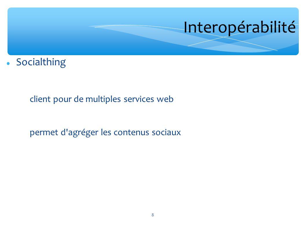 Interopérabilité Socialthing client pour de multiples services web permet d'agréger les contenus sociaux 8