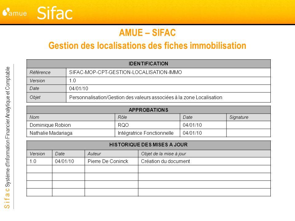 S i f a c Système dInformation Financier Analytique et Comptable Sifac AMUE – SIFAC Gestion des localisations des fiches immobilisation IDENTIFICATION