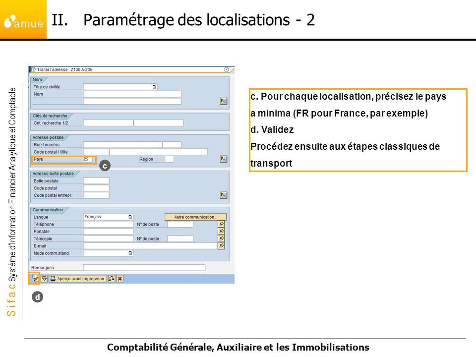 S i f a c Système dInformation Financier Analytique et Comptable Comptabilité Générale, Auxiliaire et les Immobilisations c. Pour chaque localisation,