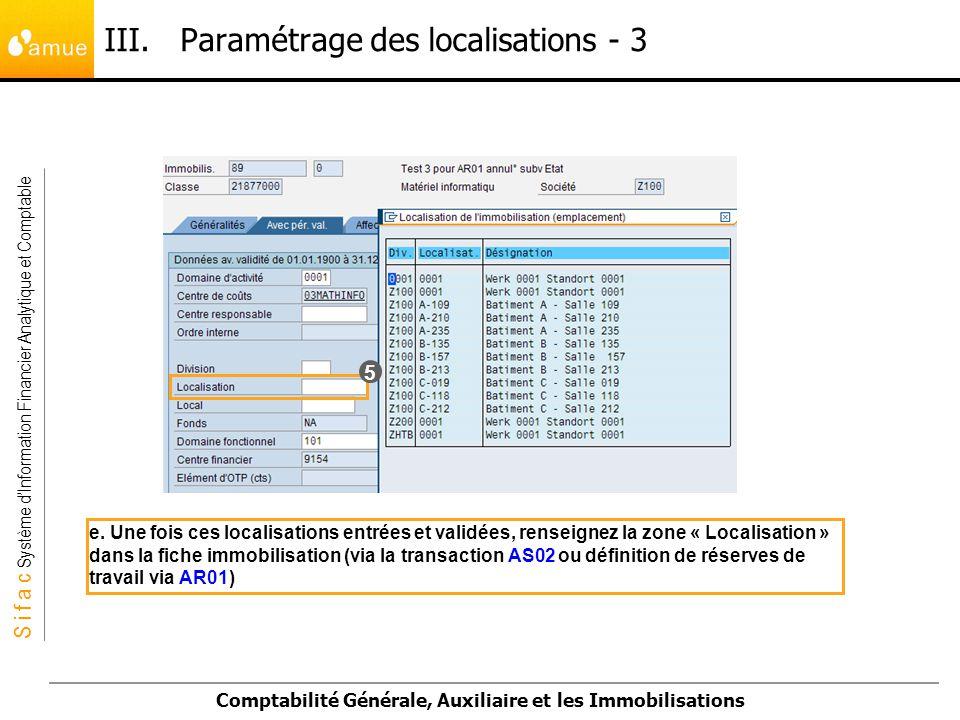 S i f a c Système dInformation Financier Analytique et Comptable Comptabilité Générale, Auxiliaire et les Immobilisations e. Une fois ces localisation