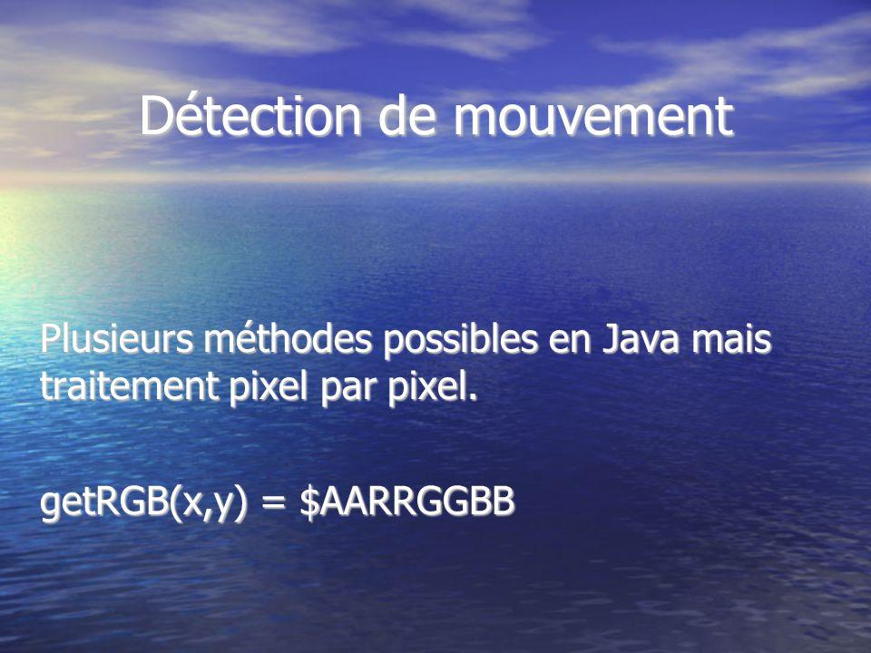 Détection de mouvement Plusieurs méthodes possibles en Java mais traitement pixel par pixel. getRGB(x,y) = $AARRGGBB