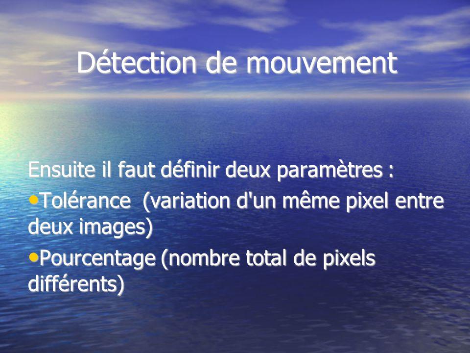 Détection de mouvement Ensuite il faut définir deux paramètres : Tolérance (variation d'un même pixel entre deux images) Tolérance (variation d'un mêm