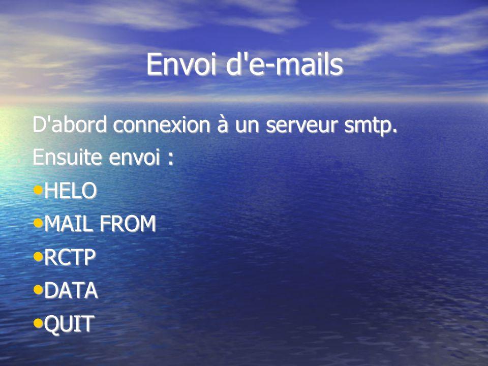 Envoi d'e-mails D'abord connexion à un serveur smtp. Ensuite envoi : HELO HELO MAIL FROM MAIL FROM RCTP RCTP DATA DATA QUIT QUIT