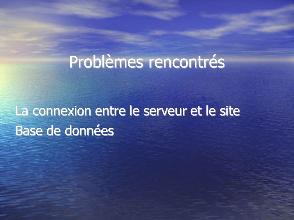 Problèmes rencontrés La connexion entre le serveur et le site Base de données