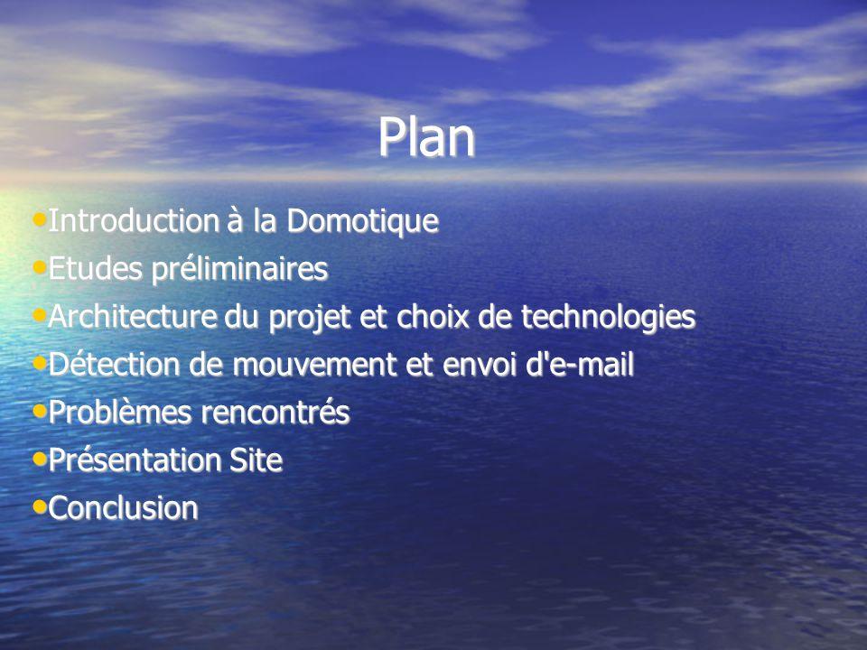 Plan Introduction à la Domotique Introduction à la Domotique Etudes préliminaires Etudes préliminaires Architecture du projet et choix de technologies
