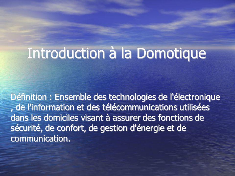 Introduction à la Domotique Définition : Ensemble des technologies de l'électronique, de l'information et des télécommunications utilisées dans les do