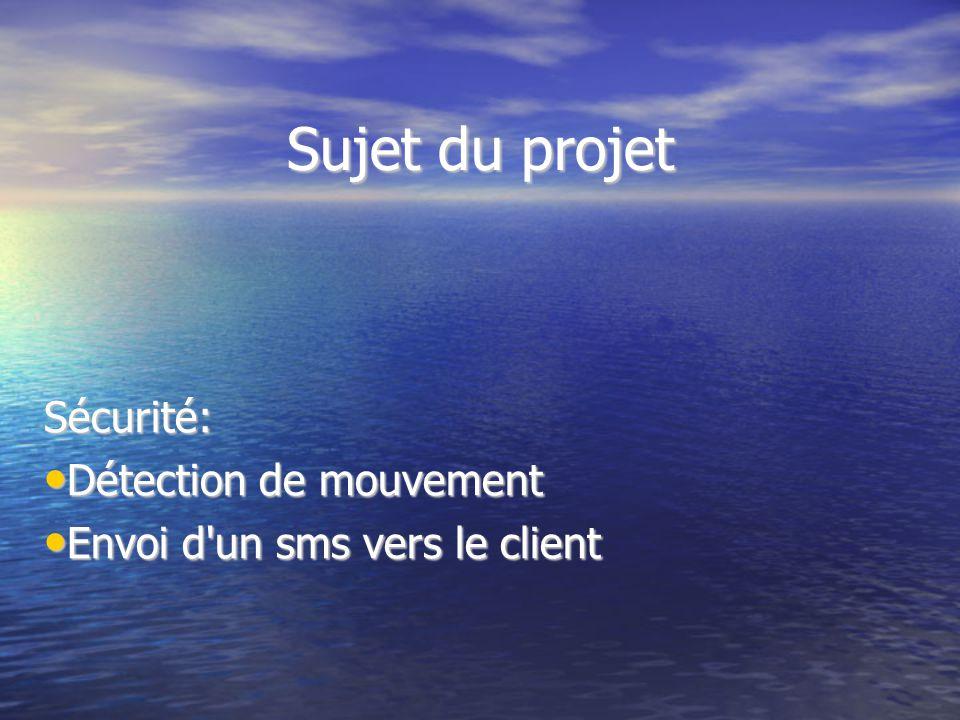 Sujet du projet Sécurité: Détection de mouvement Détection de mouvement Envoi d'un sms vers le client Envoi d'un sms vers le client