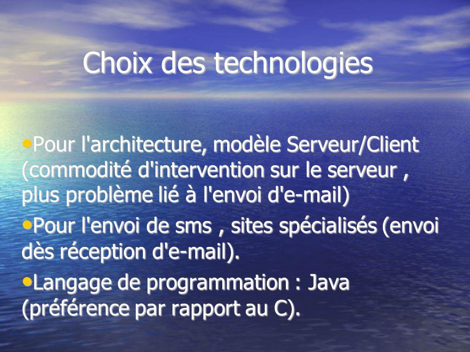 Choix des technologies Pour l'architecture, modèle Serveur/Client (commodité d'intervention sur le serveur, plus problème lié à l'envoi d'e-mail) Pour