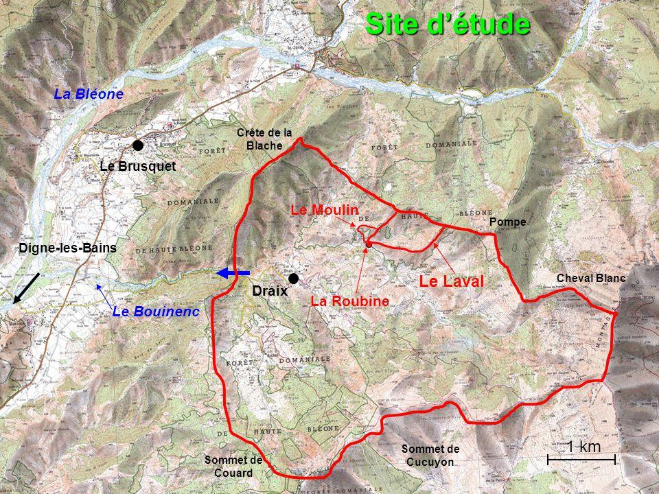 Digne-les-Bains La Bléone Le Brusquet Draix Le Bouinenc Site détude La Roubine Le Laval Le Moulin Cheval Blanc Sommet de Cucuyon Sommet de Couard Crêt