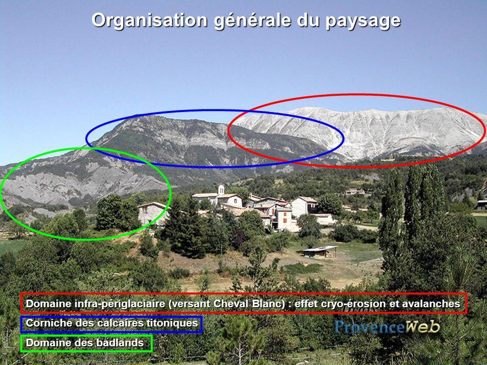 Organisation générale du paysage Organisation générale du paysage Domaine infra-périglaciaire (versant Cheval Blanc) : effet cryo-érosion et avalanche