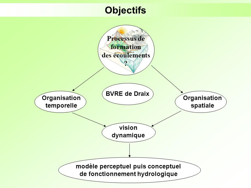 Objectifs Processus de formation des écoulements ? Organisation temporelle Organisation spatiale BVRE de Draix vision dynamique modèle perceptuel puis