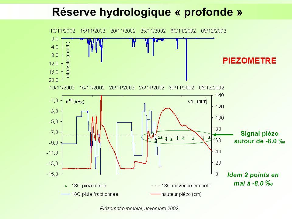 Piézomètre remblai, novembre 2002 Réserve hydrologique « profonde » Signal piézo autour de -8.0 PIEZOMETRE Idem 2 points en mai à -8.0
