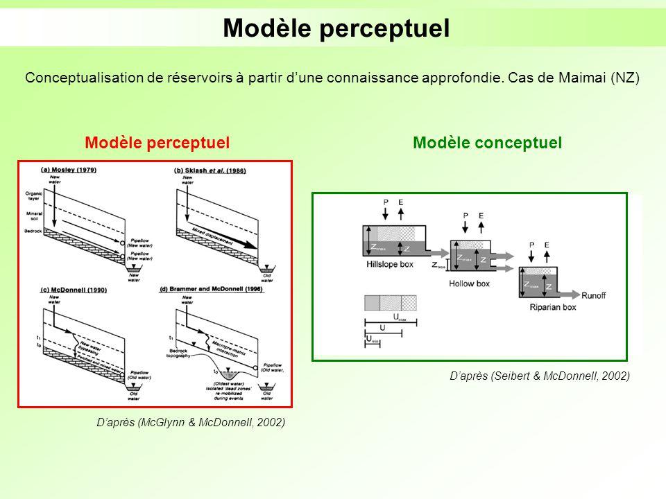 Modèle perceptuel Daprès (Seibert & McDonnell, 2002) Conceptualisation de réservoirs à partir dune connaissance approfondie. Cas de Maimai (NZ) Daprès