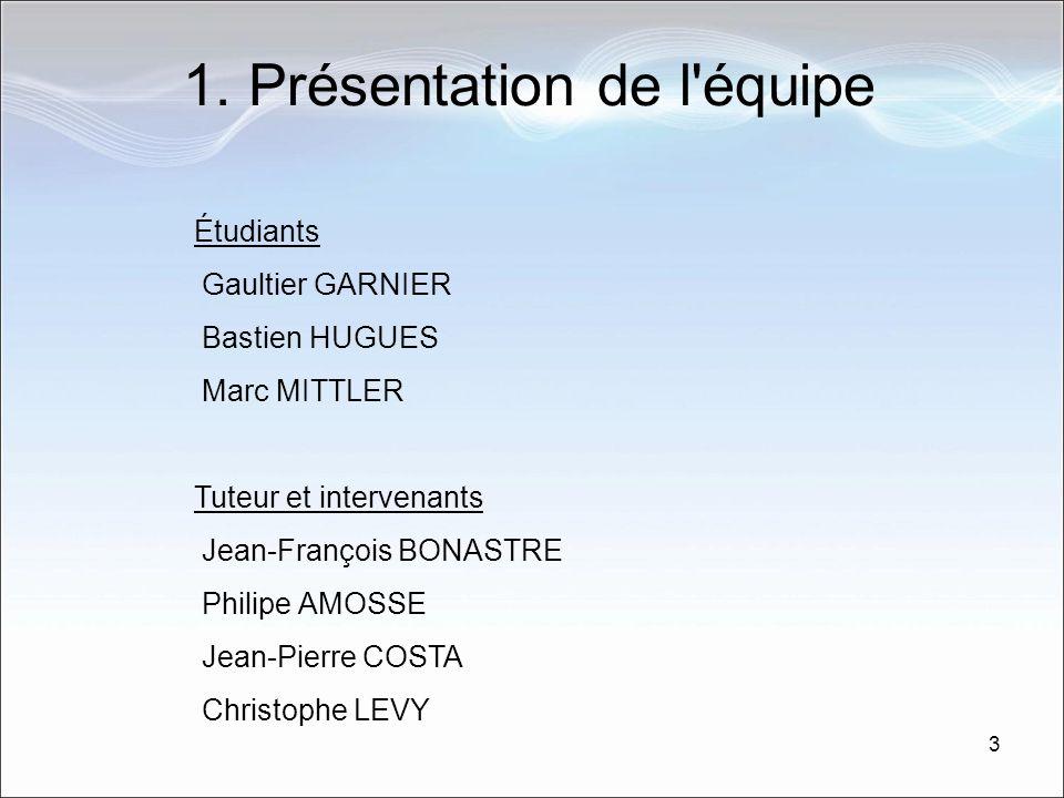 3 1. Présentation de l'équipe Étudiants Gaultier GARNIER Bastien HUGUES Marc MITTLER Tuteur et intervenants Jean-François BONASTRE Philipe AMOSSE Jean