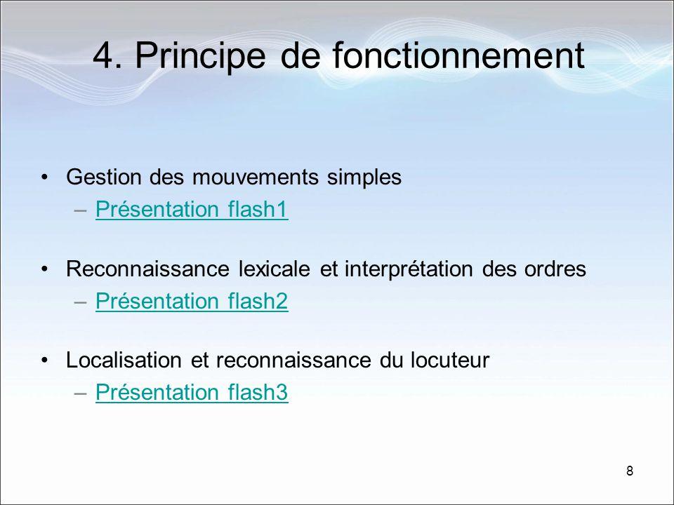 8 4. Principe de fonctionnement Gestion des mouvements simples –Présentation flash1Présentation flash1 Reconnaissance lexicale et interprétation des o