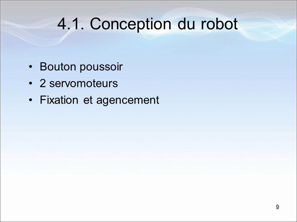 9 4.1. Conception du robot Bouton poussoir 2 servomoteurs Fixation et agencement