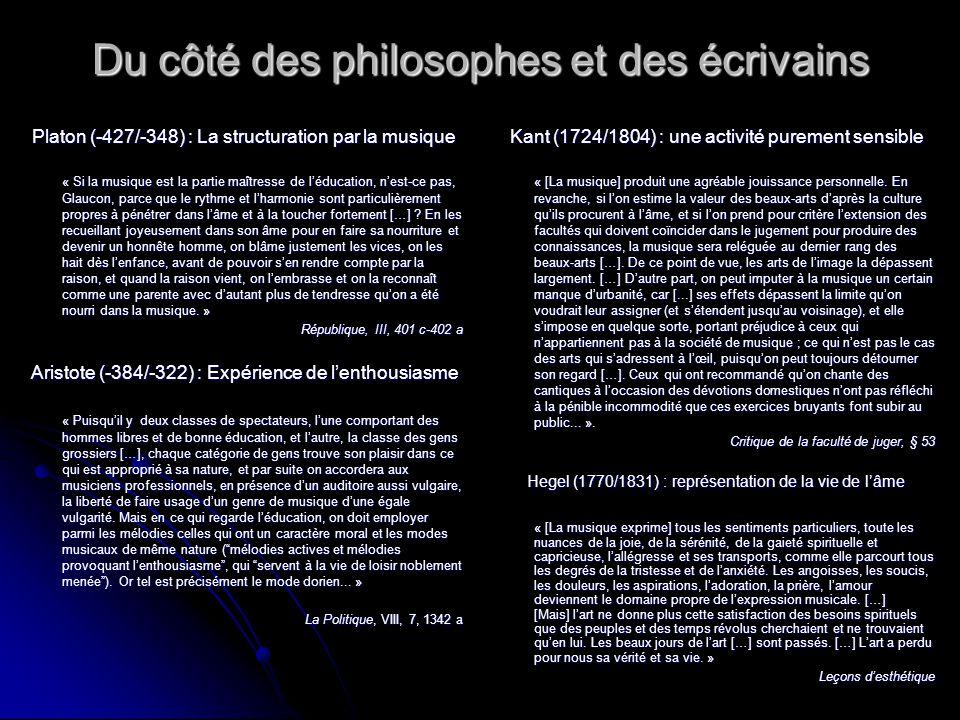 Du côté des philosophes et des écrivains Platon (-427/-348) : La structuration par la musique « Si la musique est la partie maîtresse de léducation, n
