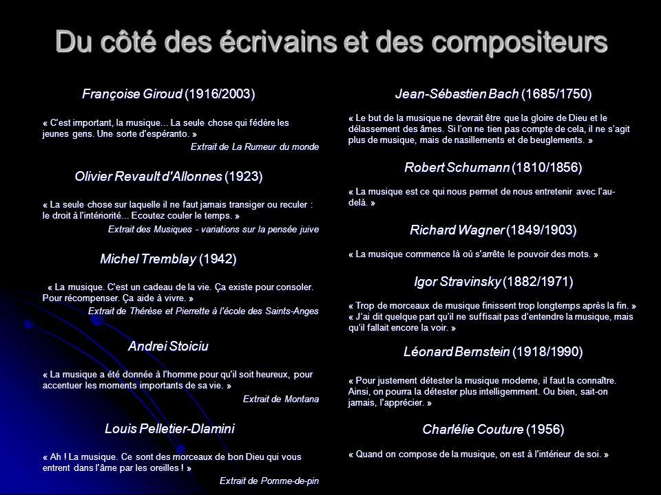 Du côté des écrivains et des compositeurs Françoise Giroud (1916/2003) « C'est important, la musique... La seule chose qui fédère les jeunes gens. Une