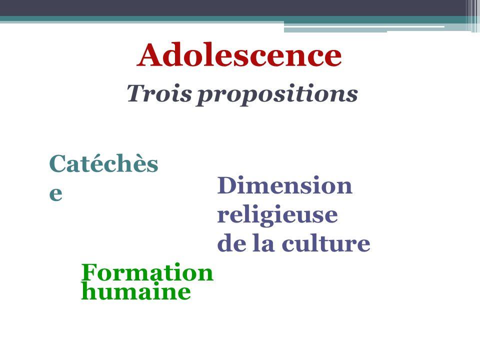 Adolescence Trois propositions Catéchès e Dimension religieuse de la culture Formation humaine