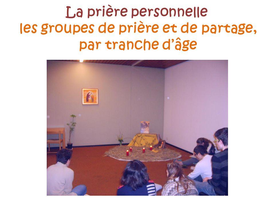 La prière personnelle les groupes de prière et de partage, par tranche dâge
