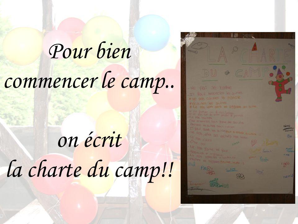 Pour bien commencer le camp.. on écrit la charte du camp!!