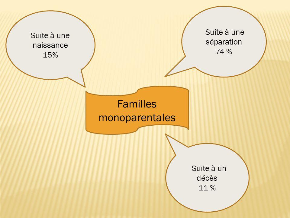 Familles monoparentales Suite à une naissance 15% Suite à une séparation 74 % Suite à un décès 11 %