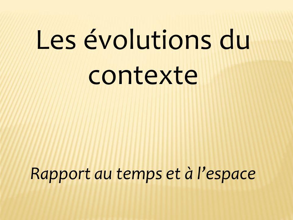 Les évolutions du contexte Rapport au temps et à lespace