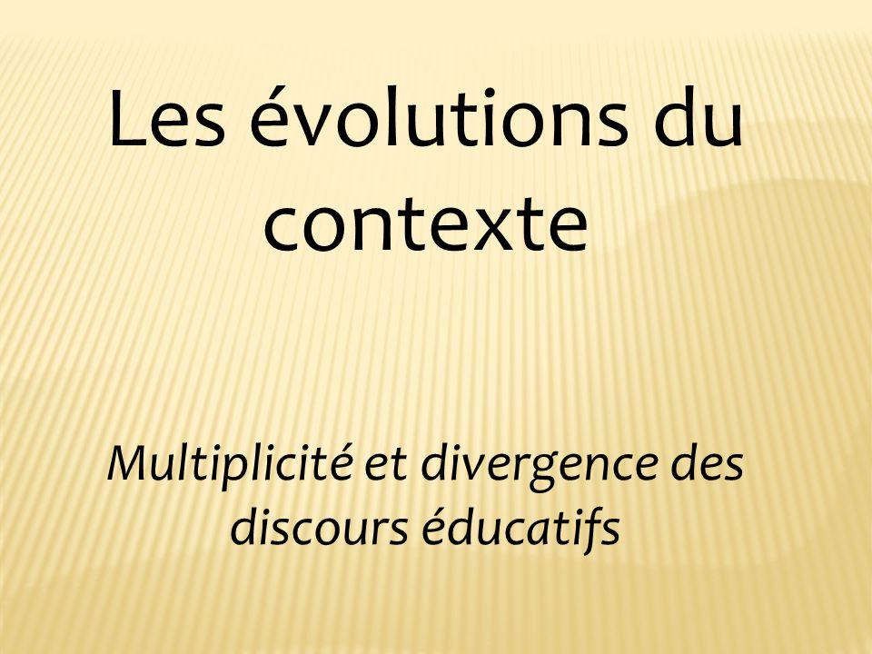 Les évolutions du contexte Multiplicité et divergence des discours éducatifs