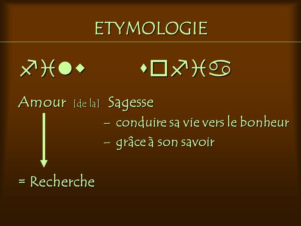 ETYMOLOGIE filw sofia Amour [de la] Sagesse – conduire sa vie vers le bonheur – grâce à son savoir = Recherche