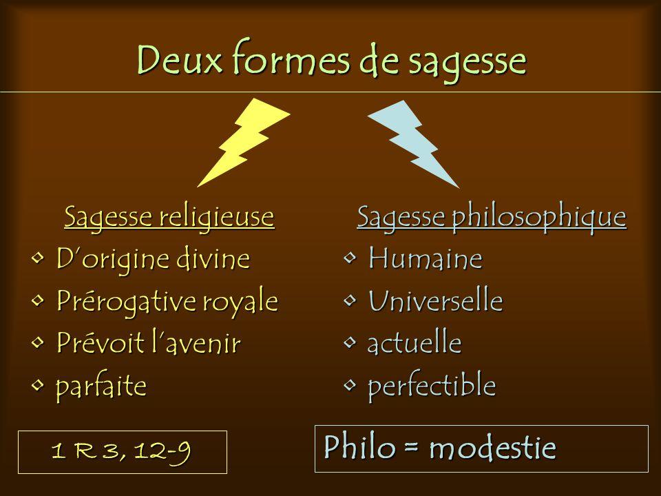 Deux formes de sagesse Sagesse religieuse Dorigine divineDorigine divine Prérogative royalePrérogative royale Prévoit lavenirPrévoit lavenir parfaitep