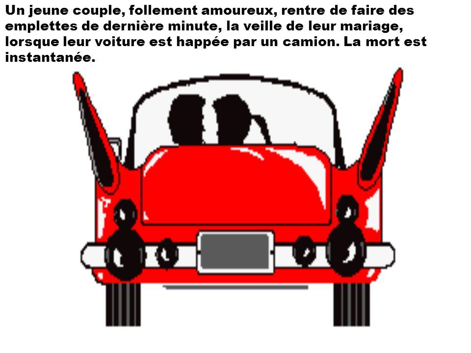 Un jeune couple, follement amoureux, rentre de faire des emplettes de dernière minute, la veille de leur mariage, lorsque leur voiture est happée par