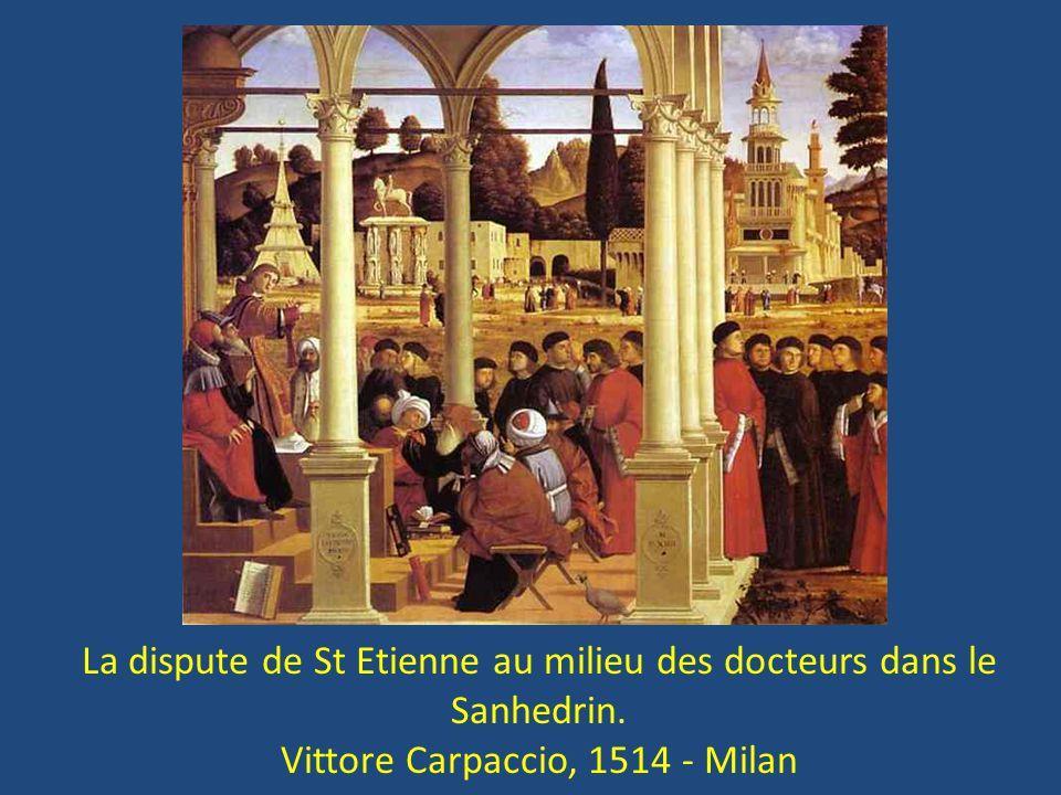 La dispute de St Etienne au milieu des docteurs dans le Sanhedrin. Vittore Carpaccio, 1514 - Milan