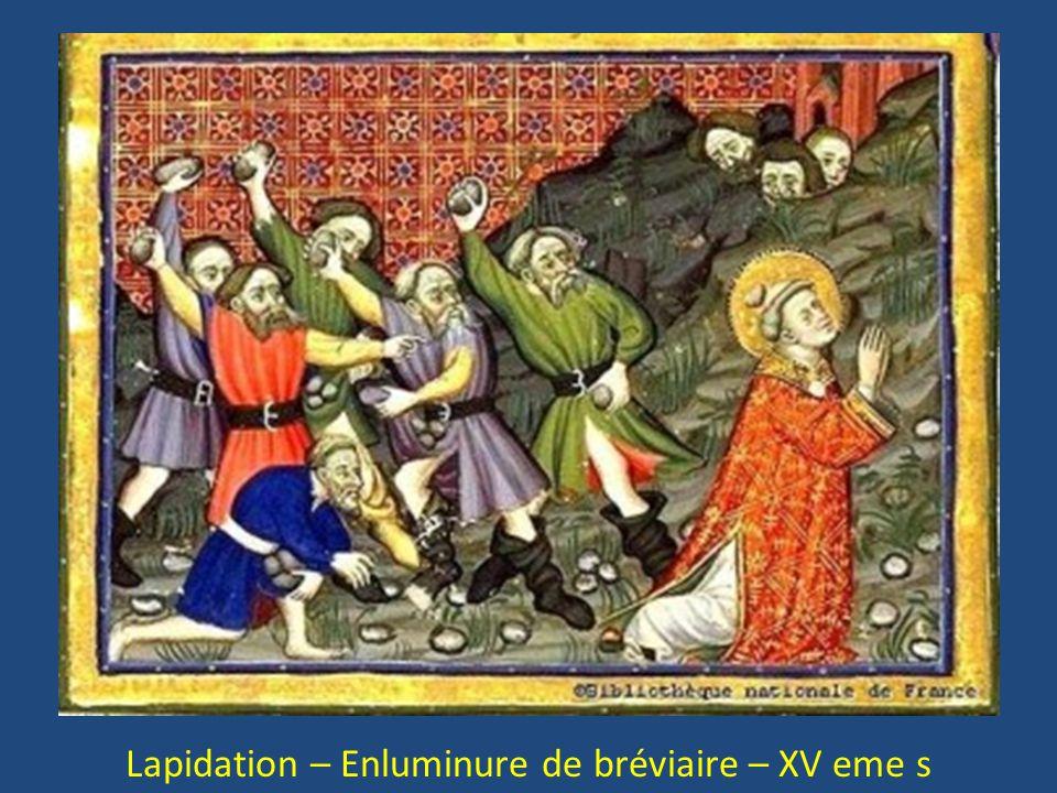 Lapidation – Enluminure de bréviaire – XV eme s
