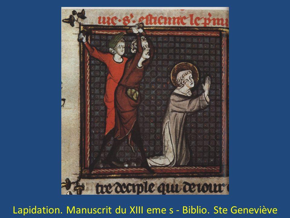 Lapidation. Manuscrit du XIII eme s - Biblio. Ste Geneviève
