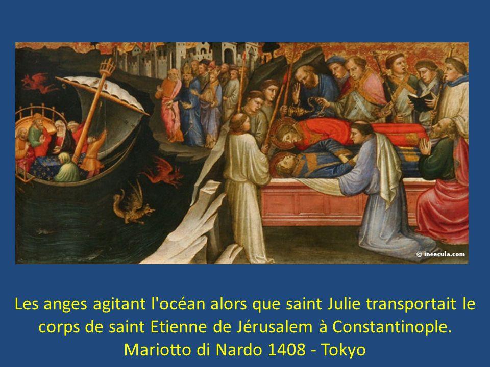 Les anges agitant l'océan alors que saint Julie transportait le corps de saint Etienne de Jérusalem à Constantinople. Mariotto di Nardo 1408 - Tokyo