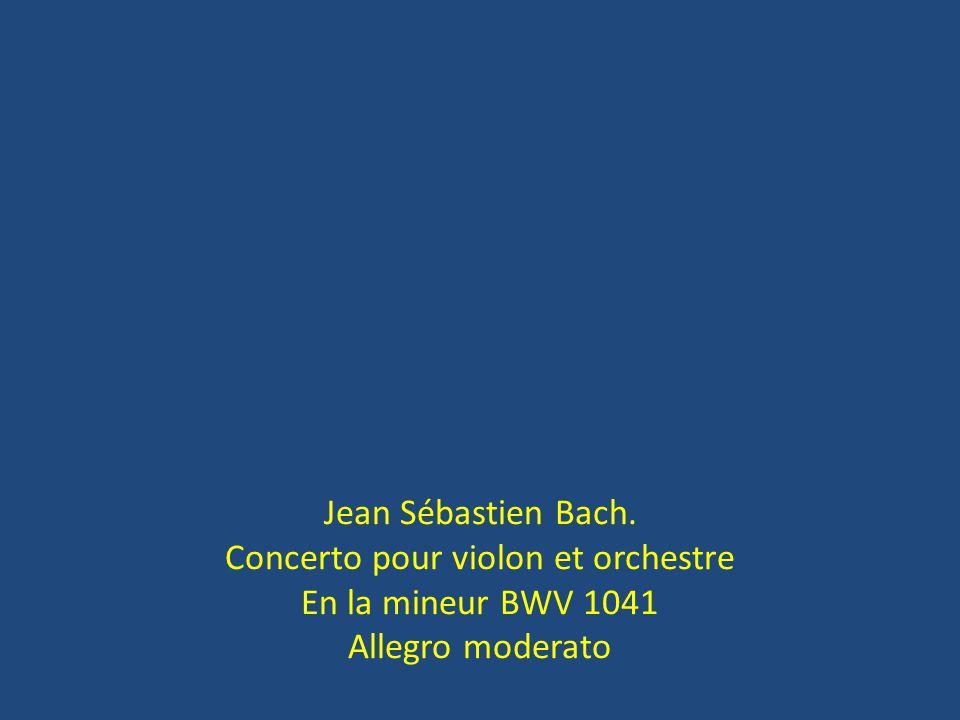 Jean Sébastien Bach. Concerto pour violon et orchestre En la mineur BWV 1041 Allegro moderato