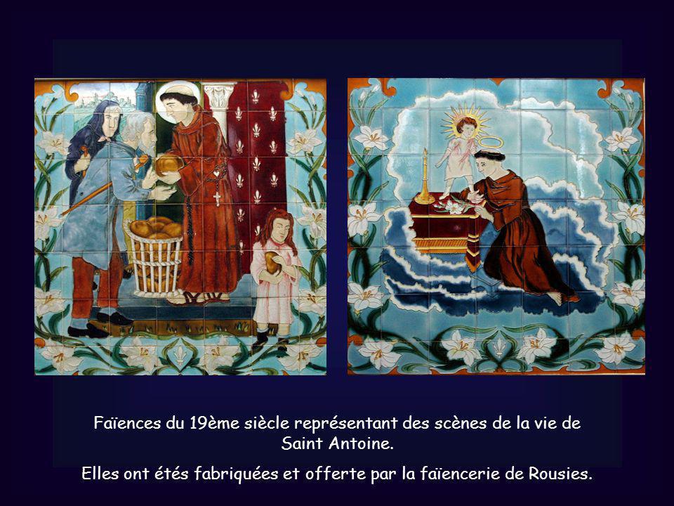 Faïences du 19ème siècle représentant des scènes de la vie de Saint Antoine.