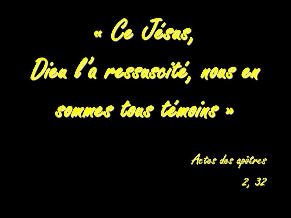 « Ce Jésus, Dieu la ressuscité, nous en sommes tous témoins » Actes des apôtres 2, 32