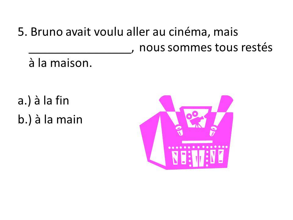 5. Bruno avait voulu aller au cinéma, mais ________________, nous sommes tous restés à la maison.