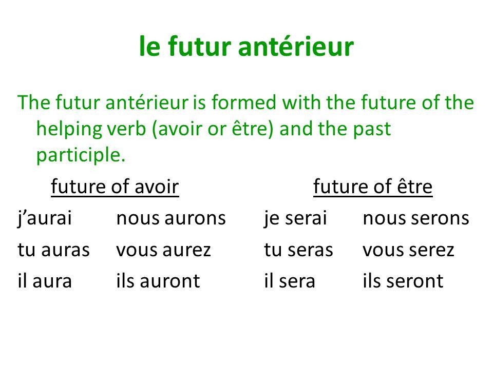Past Participles of Regular verbs A.For –er verbs: drop the –er and add é chanter > chanté B.